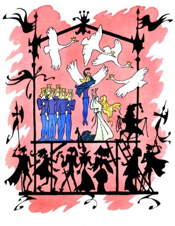 ОЛЕГ ВАСИЛЬЕВ Иллюстрация к сказке «Дикие лебеди» Г.Х.Андерсена. 1976