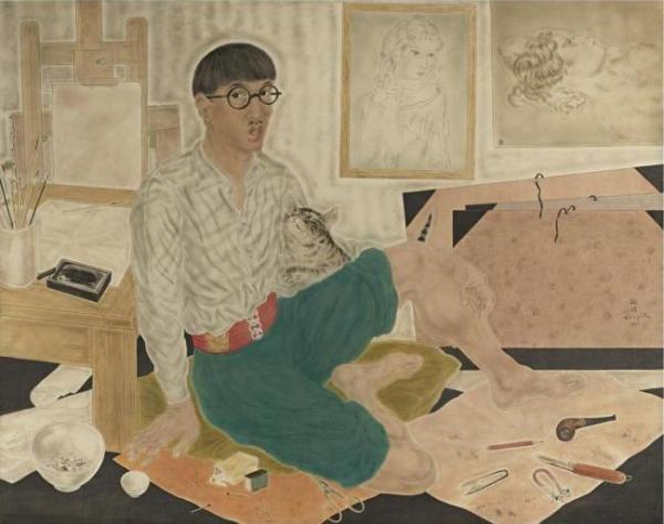 ЛЕОНАР ФУЖИТА Автопортрет в мастерской. 1932