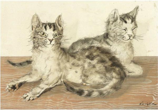 ЛЕОНАР ФУЖИТА Две кошки. 1957
