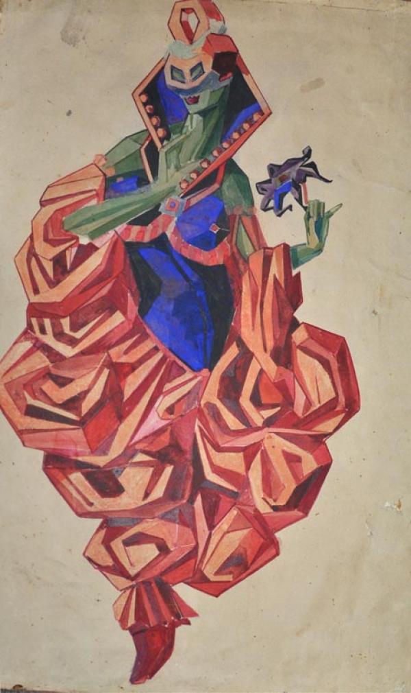 ПОЖИДАЕВ  Г.А. Экзотическая маркиза. Эскиз костюма к балету Н.Н.Черепнина  «Маска Красной смерти». 1919