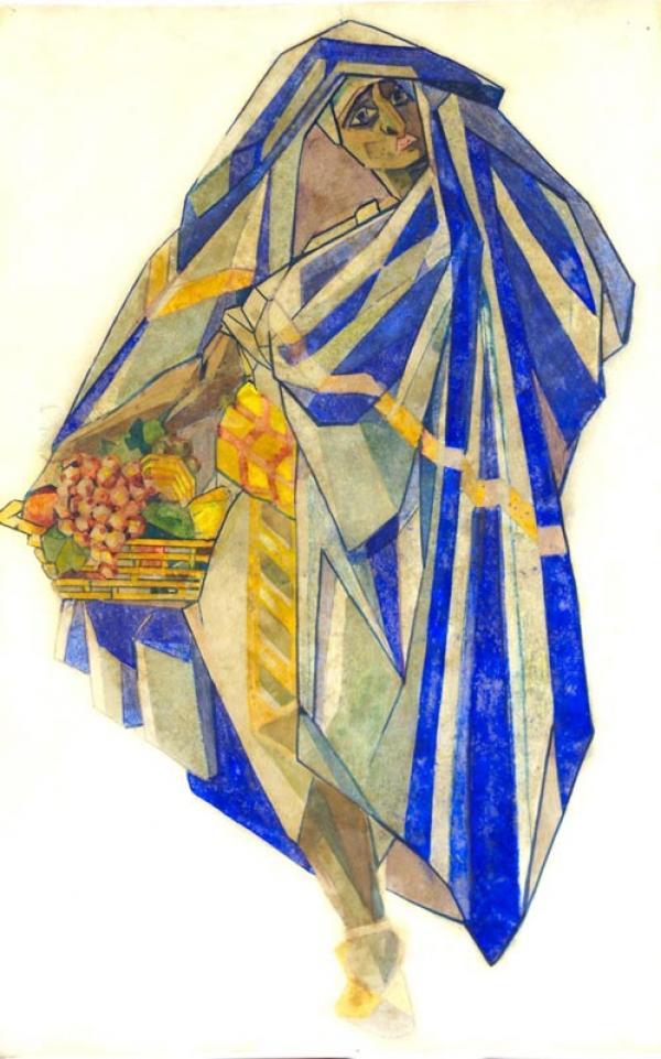 ПОЖИДАЕВ  Г.А. Фигура под покрывалом. Эскиз костюма для концертного номера  «Дивертисмент» на музыку А.Т.Гречанинова и др. 1919