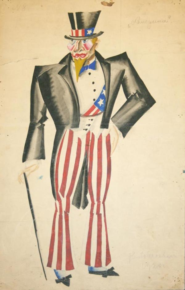ХОДАСЕВИЧ  В.М. Америка. Эскиз мужского костюма к постановке С.Радлова  «Версальские благодетели». 1920