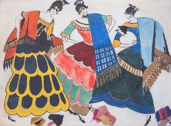 ФЕДОРОВСКИЙ  Ф.Ф. Эскизы испанских костюмов к опере Ж.Бизе «Кармен». 1922