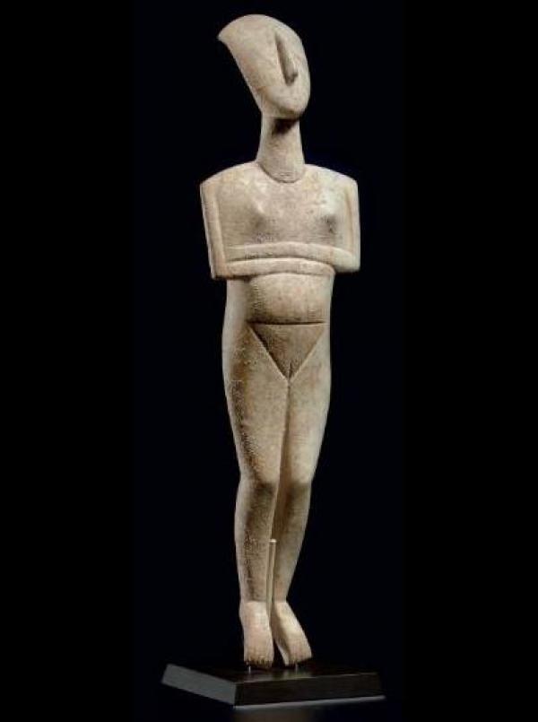 Неизвестный автор (Мастер Шустер). Лежащая женская фигурка. Кикладские острова. Ок. 2400 г. до н.э.