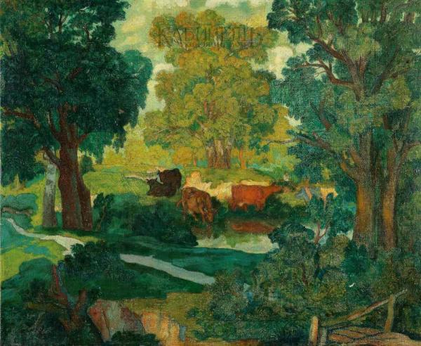 КРЫМОВ Н.П. Пейзаж с коровами. 1909 [1910?]