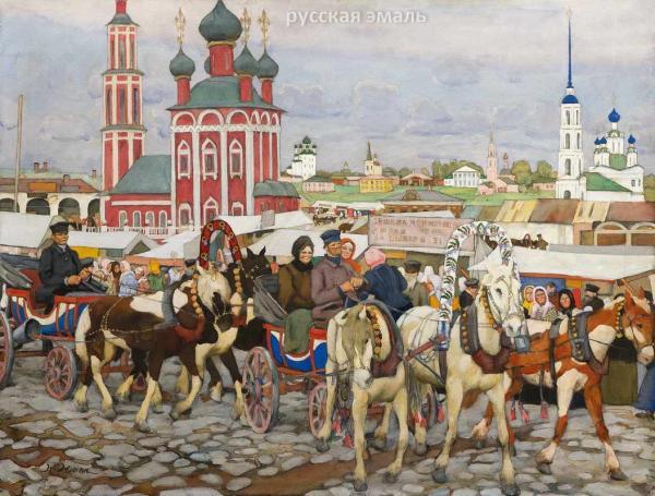 Рыночная площадь в Угличе (Тройка в Угличе). 1914