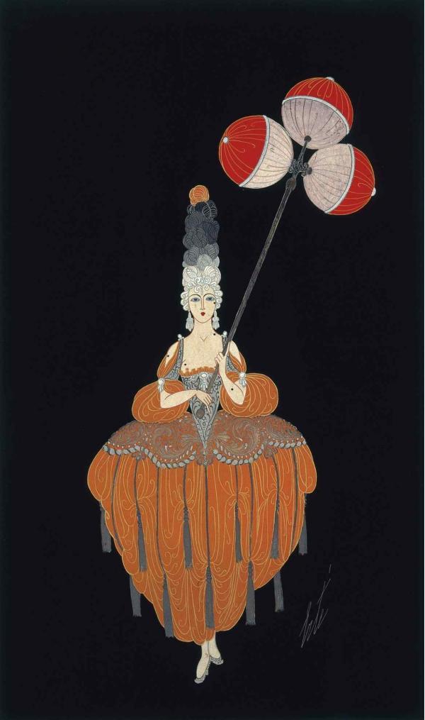 ЭРТЕ Четвертая дама с фонарем. Эскиз костюма к постановке «Венеция XVIII века». Кабаре «Фоли Бержер», Париж. 1919