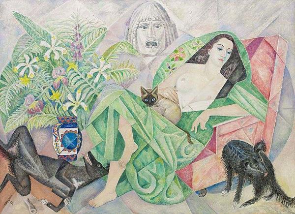 МАРЕВНА Семья (Портрет Марики с кошкой и собаками). 1972