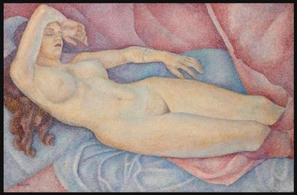 МАРЕВНА Лежащая обнаженная молодая женщина. 1937