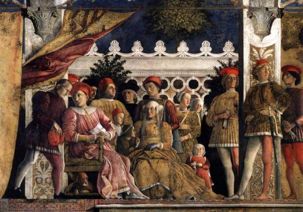АНДРЕА МАНТЕНЬЯ Камера дельи Спози. Двор герцога Гонзаго. Фрагмент фрески. 1465–1474