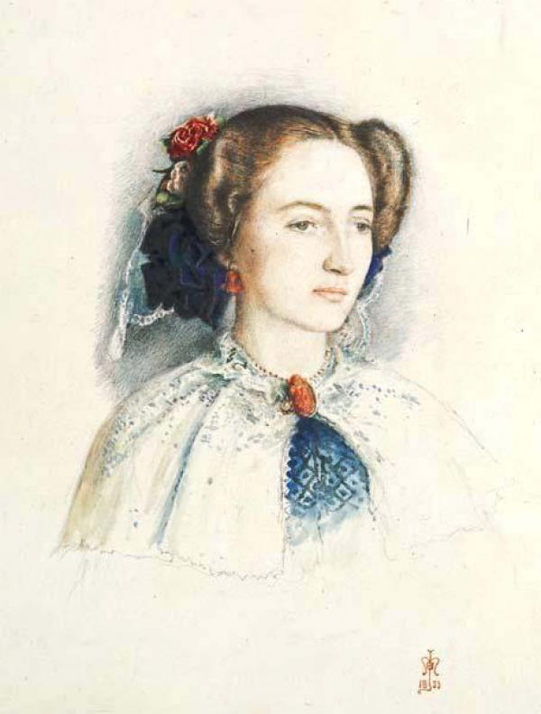 ДЖОН ЭВЕРЕТТ МИЛЛЕС Портрет Эффи Рёскин, позже — леди Миллес (урожд. Эуфимии Чалмерс Грей). 1853