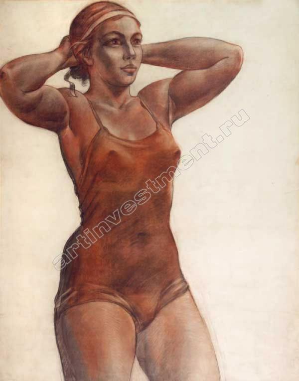 АЛЕКСАНДР ДЕЙНЕКА Девушка, завязывающая ленту на голове. 1951