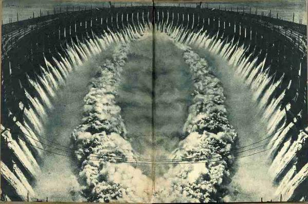 ВЛАДИМИР ГРЮНТАЛЬ Форзац книги «Трагедийная ночь» А. Безыменского. Фотомонтаж. 1935