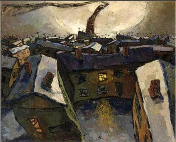 ОСКАР РАБИН Город и луна (Социалистический город). 1959