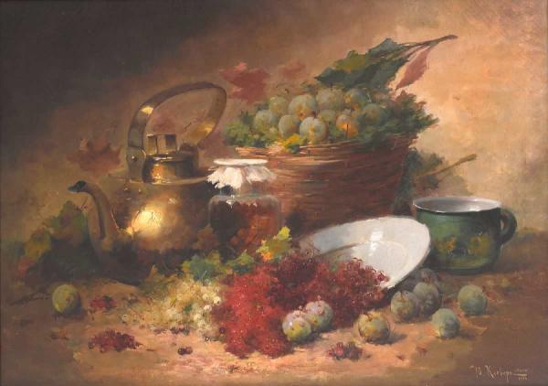 КЛЕВЕР (мл.) Ю.Ю. Натюрморт с чайником, сливами и смородиной. 1906