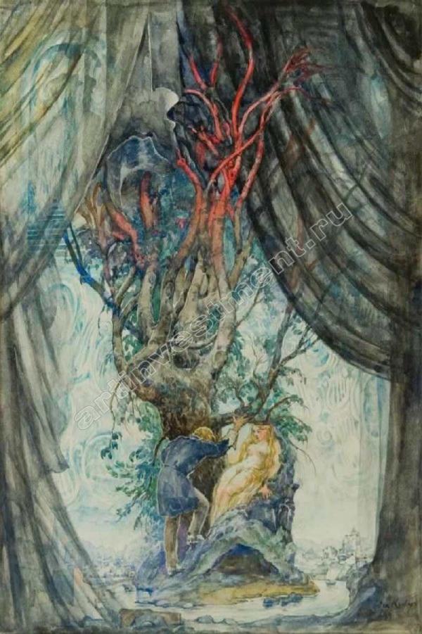 КЛЕВЕР О. Ю. Эскиз иллюстрации к сказке Г.-Х. Андерсена «Красные башмачки»