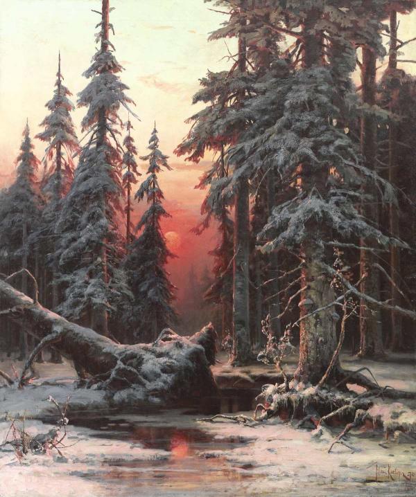 КЛЕВЕР Ю. Ю. Зимний лес на закате. 1887
