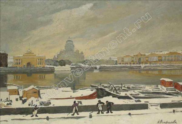 ОСТРОУМОВА-ЛЕБЕДЕВА АННА ПЕТРОВНА (1871–1955) Первый снег. 1917