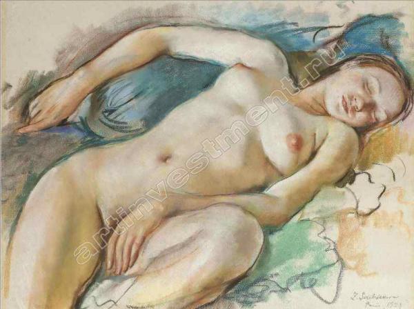 СЕРЕБРЯКОВА ЗИНАИДА ЕВГЕНЬЕВНА (1884–1967) Лежащая обнаженная. 1929