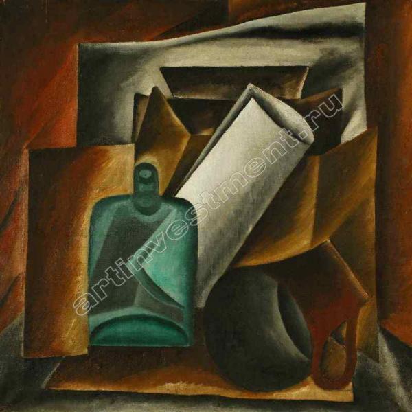МАМИЧЕВА-НЮРЕНБЕРГ ПОЛИНА НИКОЛАЕВНА (1893–1978) Натюрморт с зеленой бутылкой. Ок. 1918