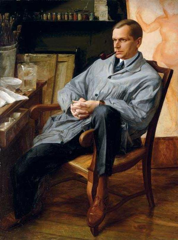 Александр ЯКОВЛЕВ. Портрет  Василия Шухаева в студии. 1928