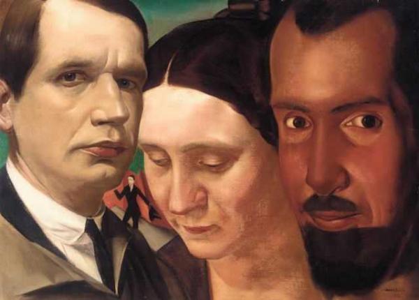Василий ШУХАЕВ Тройной портрет: Александр Яковлев, Василий и Вера Шухаевы.  1921