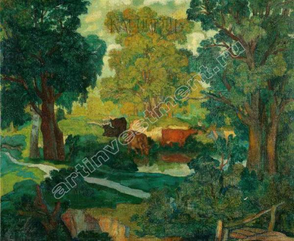10. КРЫМОВ Н.П. Пейзаж с коровами. 1909 [1910?]