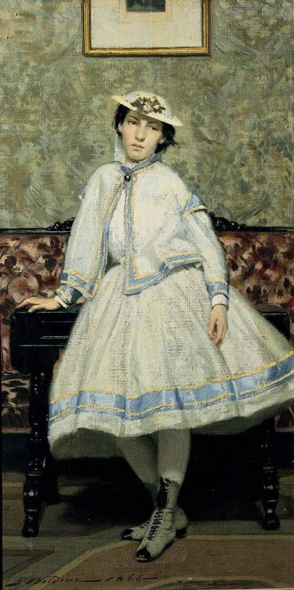 Дж. БОЛДИНИ Портрет Аделаиды Банти в белом платье. 1866