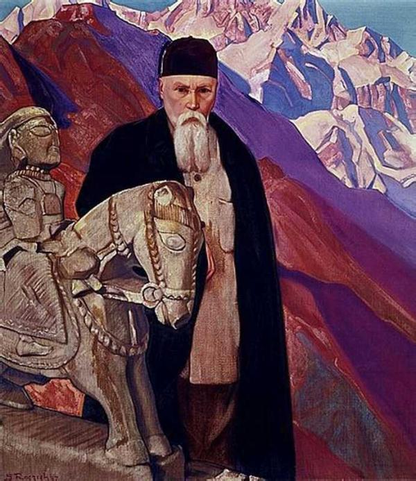 С.Н.РЕРИХ Николай  Рерих у статуи Гуга Чохана. 1937