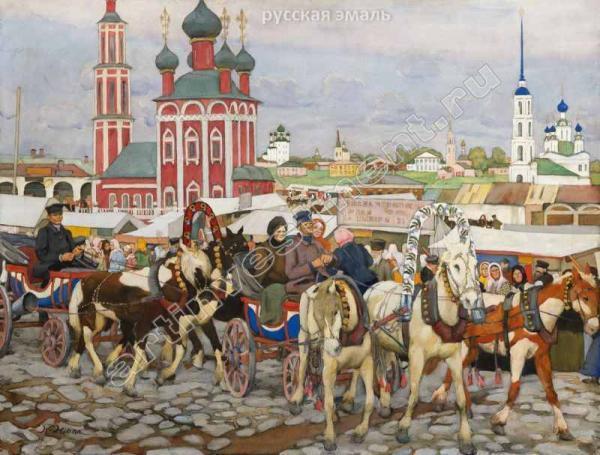 ЮОН К.Ф. Рыночная площадь в Угличе (Тройка в Угличе). 1914