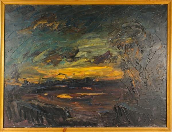 МАСЛОВ Владимир Владимирович (1934) Закат над озером. 1980-е