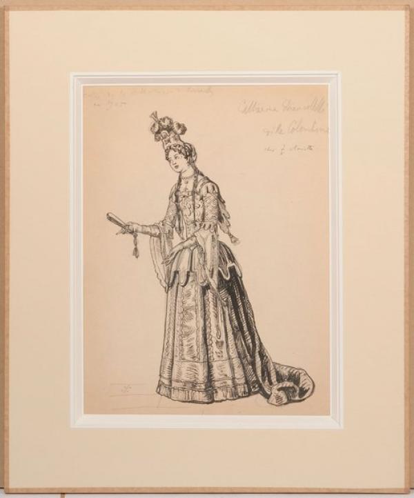 БЕНУА Александр Николаевич (1870–1960)  Катерина Бьянколелли в роли Коломбины. Рисунок с гравюры XVII века. 1905