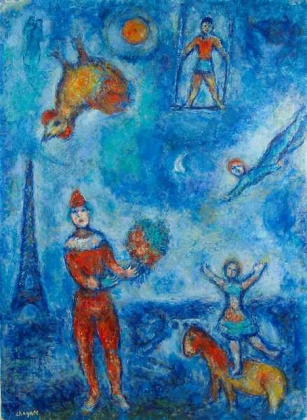МАРК ШАГАЛ Цирк на голубом  парижском небе. Около 1978–1981