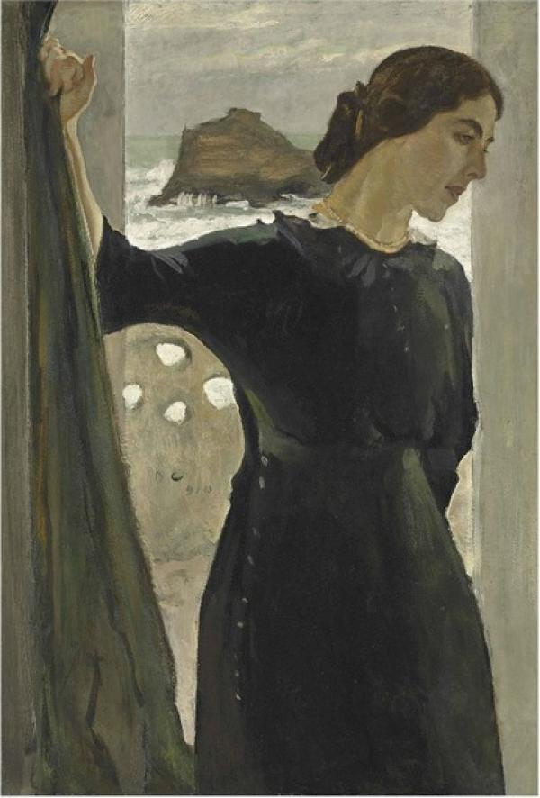 СЕРОВ Валентин  Александрович (1865–1911) Портрет Марии Цетлин. 1910