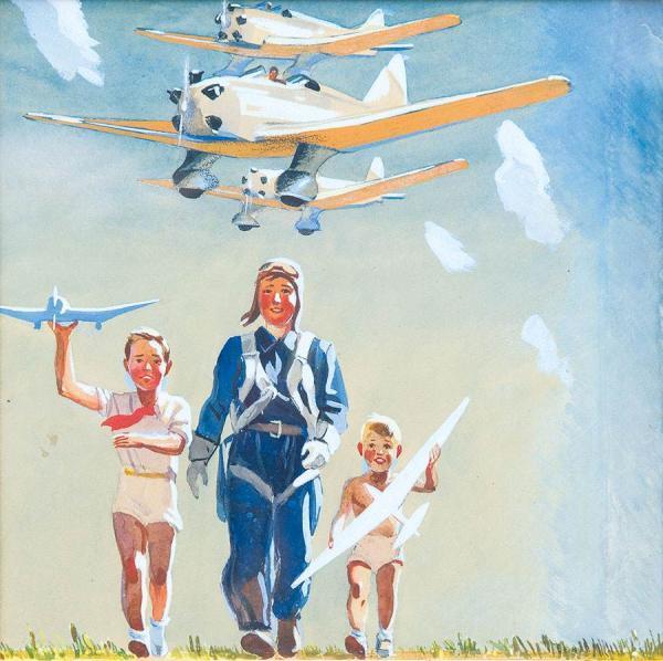 ДЕЙНЕКА Александр  Александрович (1899–1969) Оригинал обложки книги «Наша авиация». 1939