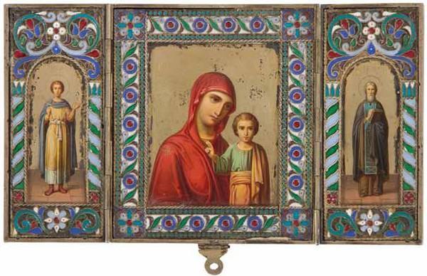 Трёхстворчатый складень: «Богоматерь  Одигитрия», «Святой Арсений», «Святой Валериан»