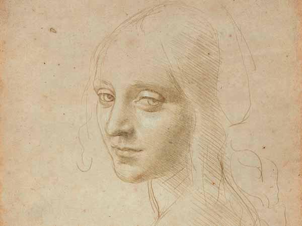 ЛЕОНАРДО ДА ВИНЧИ Эскиз головы молодой девушки (головы Ангела для картины «Мадонна в скалах»). Около 1483–1485