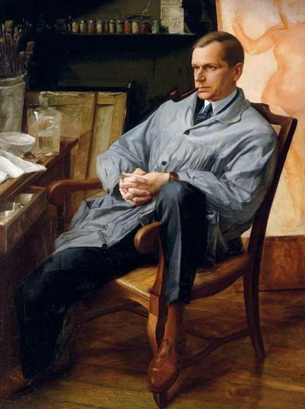 АЛЕКСАНДР ЯКОВЛЕВ Портрет Василия Шухаева в его студии. 1928