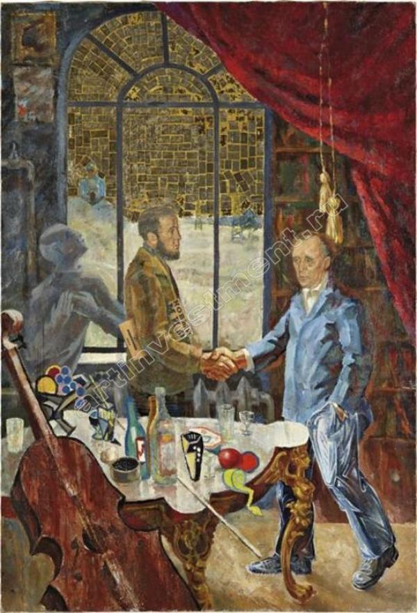 КОМАР и МЕЛАМИД Встреча Солженицына и Бёлля на даче Ростроповича. Из серии «Соц-арт». 1972