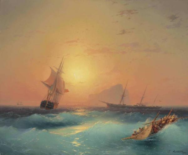 Иван АЙВАЗОВСКИЙ Американские суда у скал Гибралтара. 1873