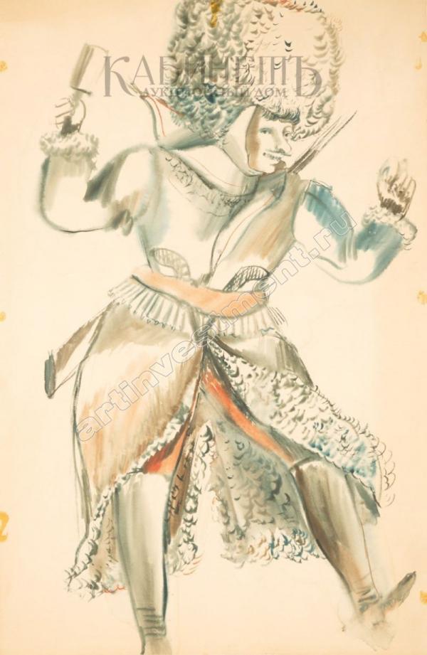 ТЫШЛЕР Александр Григорьевич (1898–1980) Эскиз костюма к спектаклю «Чапаев» в постановке театра им. МОСПС. 1930