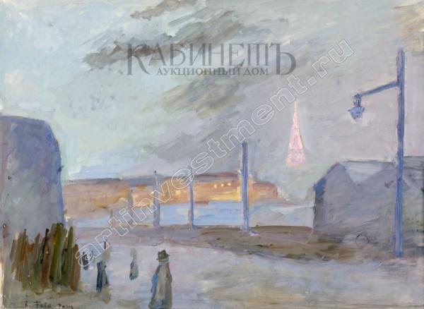 ФАЛЬК Роберт Рафаилович (1886–1958) Ночной вид Парижа с Эйфелевой башней. Середина 1930-х