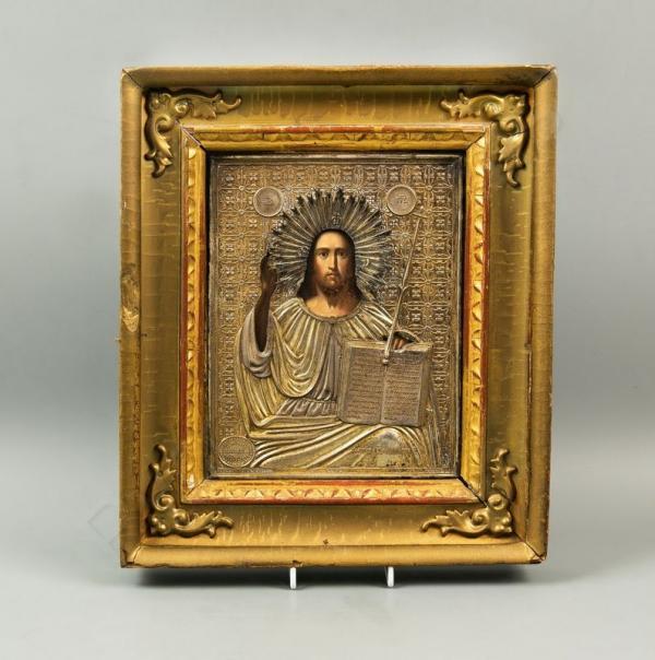 Икона «Господь Вседержитель» в окладе и в старинной киотной раме. Россия, после 1861
