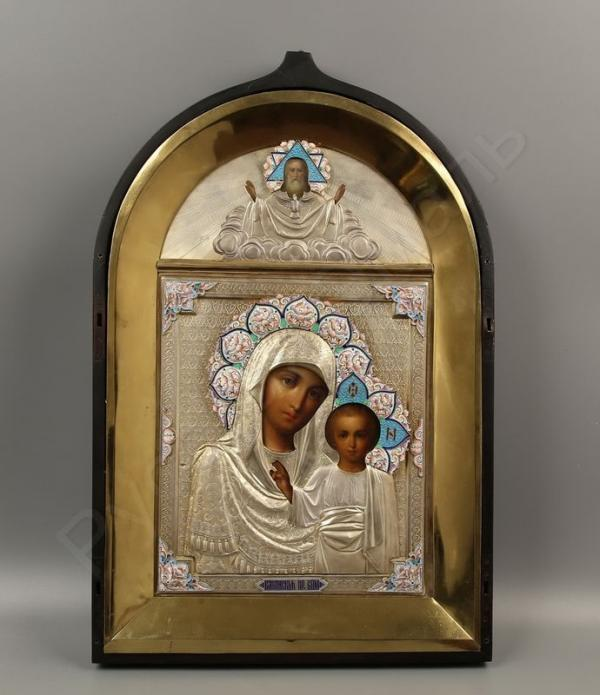 Икона «Богоматерь Казанская» с образом Саваофа в серебряном окладе и киотной раме