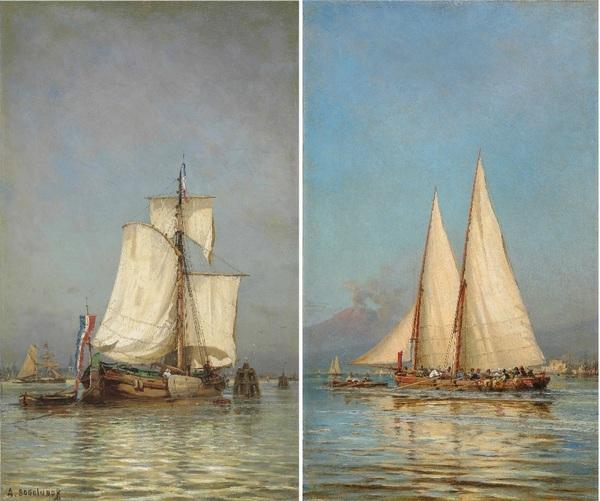 Алексей БОГОЛЮБОВ  (1824–1896) Две марины: Рыбацкое судно в Голландии; Парусная яхта у берегов  Неапол