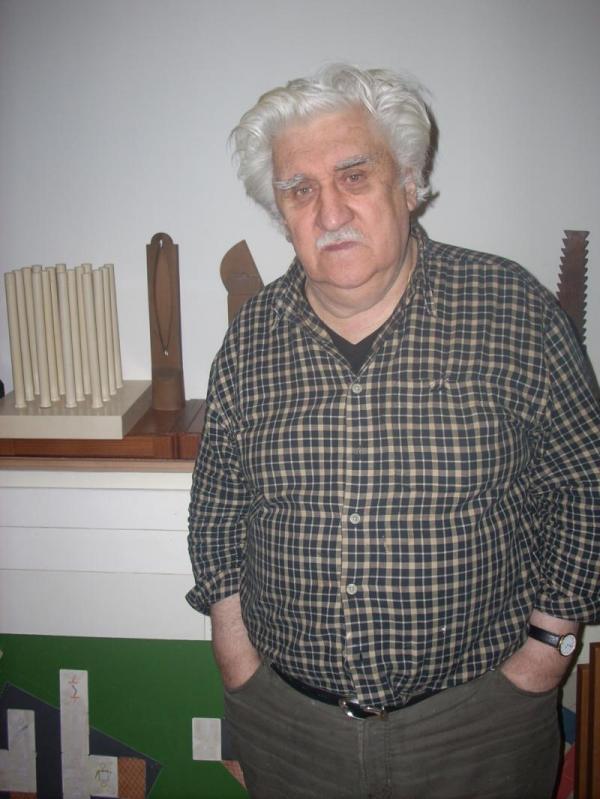 Владимир Немухин в мастерской. Москва. 2008