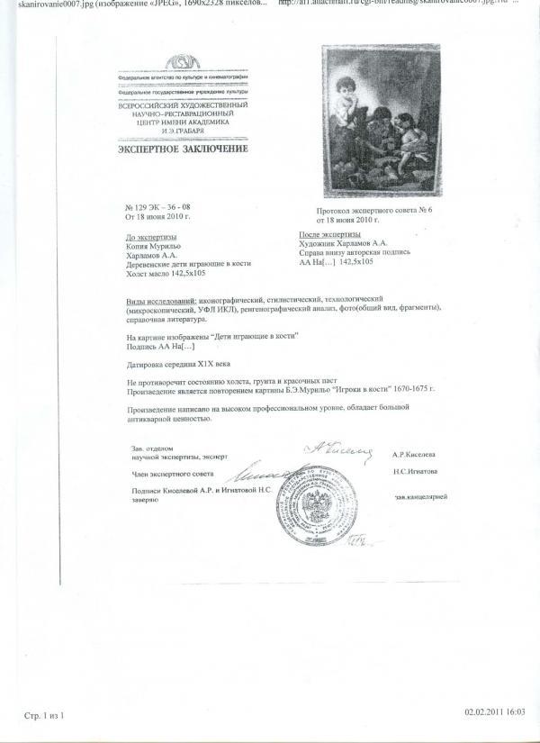 Фальшивое экспертное заключение 2010 года: Харламов. «Деревенские дети, играющие в кости»