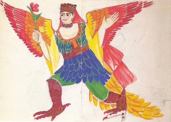 Наталия Гончарова. Птица Сирин. Эскиз костюма. 1914