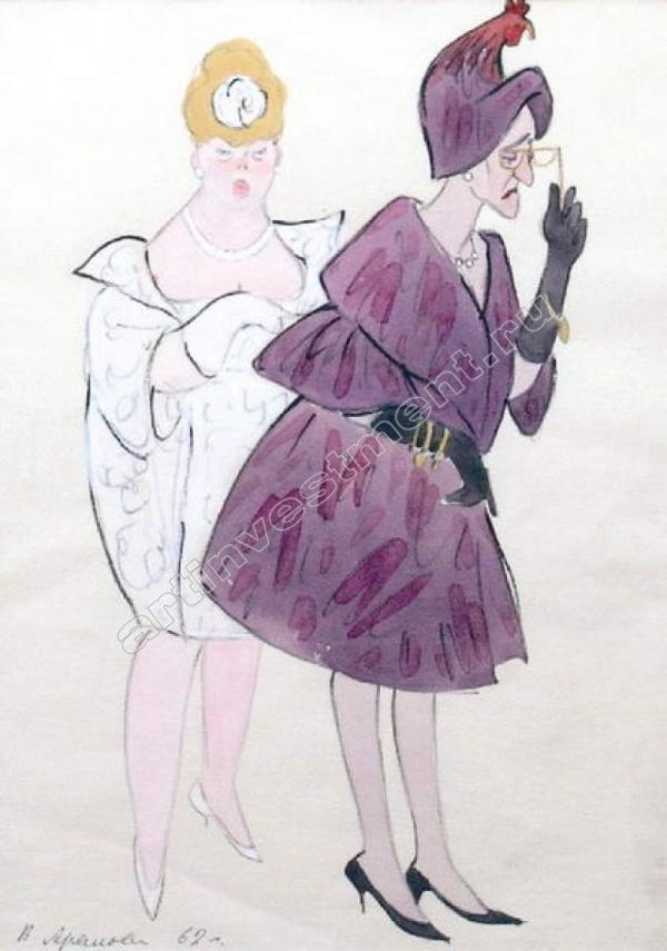 Вера АРАЛОВА-ПАТТЕРСОН Театральный эскиз к спектаклю Назыма Хикмета «Бунт женщин». 1962