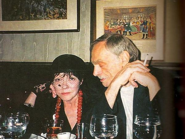 Феликс Збарский и Белла Ахмадулина в ресторане «Русский самовар». Нью-Йорк. 1990-е